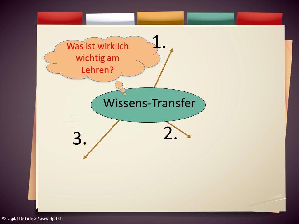 © Digital Didactics / www.dgd.ch Wissens-Transfer 2. 3. Was ist wirklich wichtig am Lehren? 1.