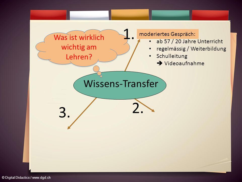 © Digital Didactics / www.dgd.ch moderiertes Gespräch: ab 57 / 20 Jahre Unterricht regelmässig / Weiterbildung Schulleitung Videoaufnahme Wissens-Transfer 2.