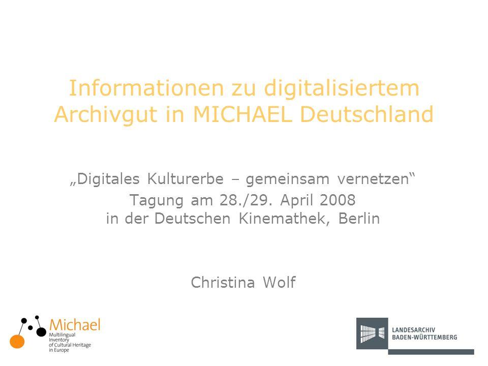 2 Themenüberblick Einführung Inhalte von MICHAEL-D Elemente zur Beschreibung digitaler Bestände und Sammlungen Archivische Inhalte –Suchmöglichkeiten –Beispiele Chancen und Ausblick