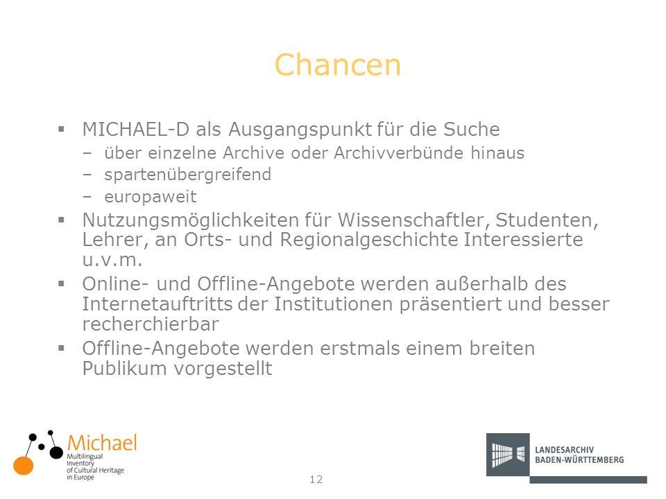 12 Chancen MICHAEL-D als Ausgangspunkt für die Suche –über einzelne Archive oder Archivverbünde hinaus –spartenübergreifend –europaweit Nutzungsmöglic