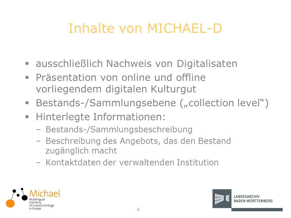 4 Inhalte von MICHAEL-D ausschließlich Nachweis von Digitalisaten Präsentation von online und offline vorliegendem digitalen Kulturgut Bestands-/Samml