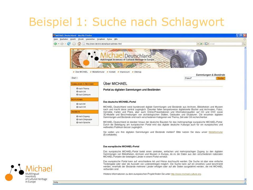9 Beispiel 2: Suche nach Angebotsart virtuelle Ausstellung