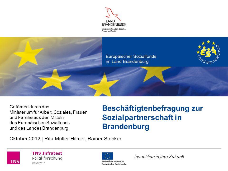 ©TNS 2012 TNS Infratest Politikforschung Beschäftigtenbefragung zur Sozialpartnerschaft in Brandenburg Gefördert durch das Ministerium für Arbeit, Soziales, Frauen und Familie aus den Mitteln des Europäischen Sozialfonds und des Landes Brandenburg.