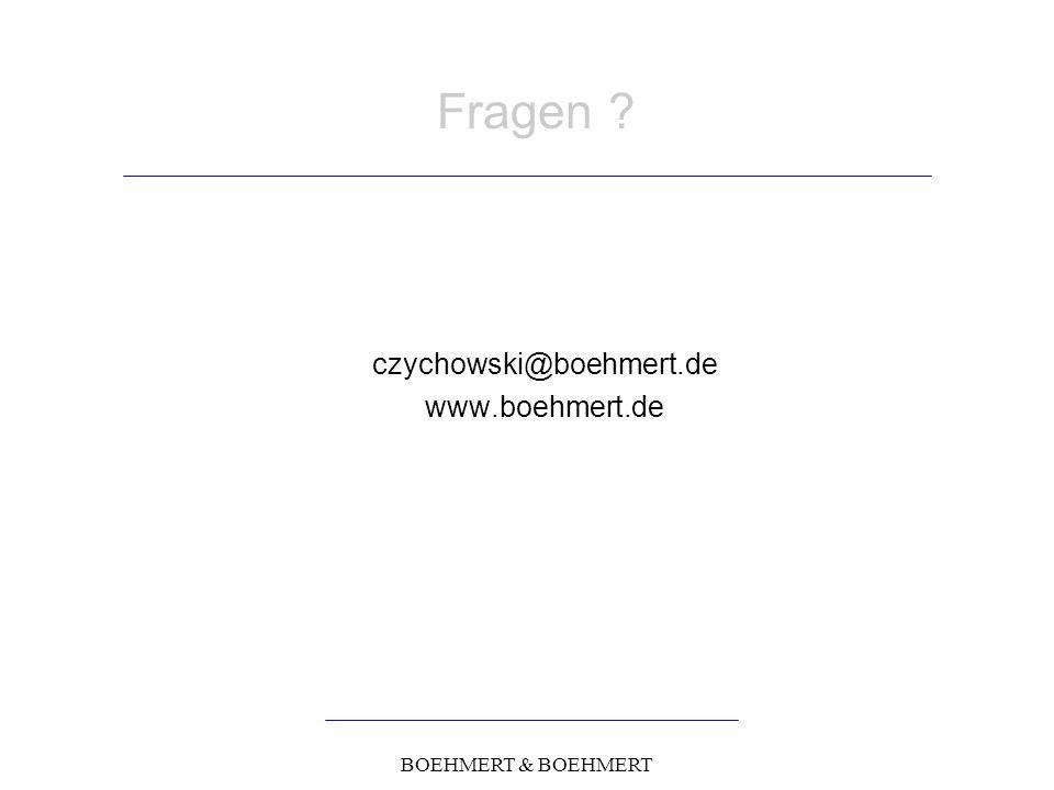 BOEHMERT & BOEHMERT Fragen czychowski@boehmert.de www.boehmert.de