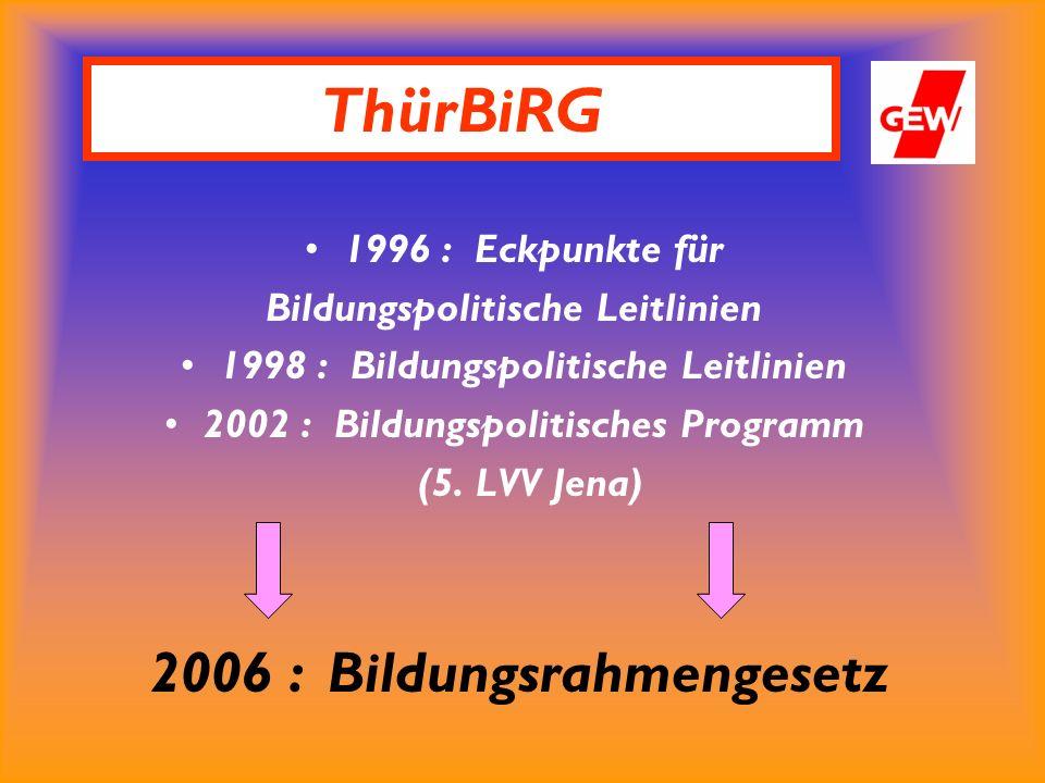 1996 : Eckpunkte für Bildungspolitische Leitlinien 1998 : Bildungspolitische Leitlinien 2002 : Bildungspolitisches Programm (5.