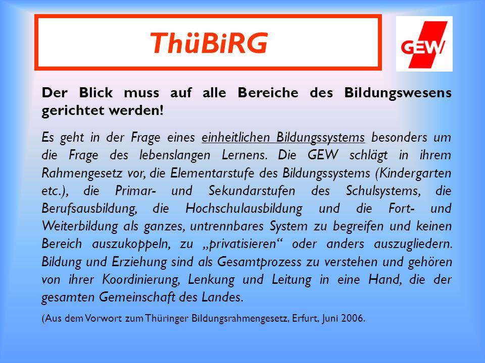 ThüBiRG Der Blick muss auf alle Bereiche des Bildungswesens gerichtet werden.