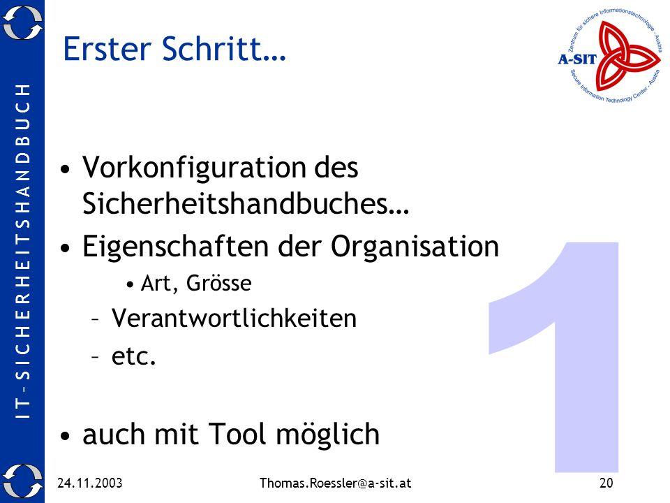I T – S I C H E R H E I T S H A N D B U C H 24.11.2003Thomas.Roessler@a-sit.at20 Erster Schritt… Vorkonfiguration des Sicherheitshandbuches… Eigenschaften der Organisation Art, Grösse –Verantwortlichkeiten –etc.