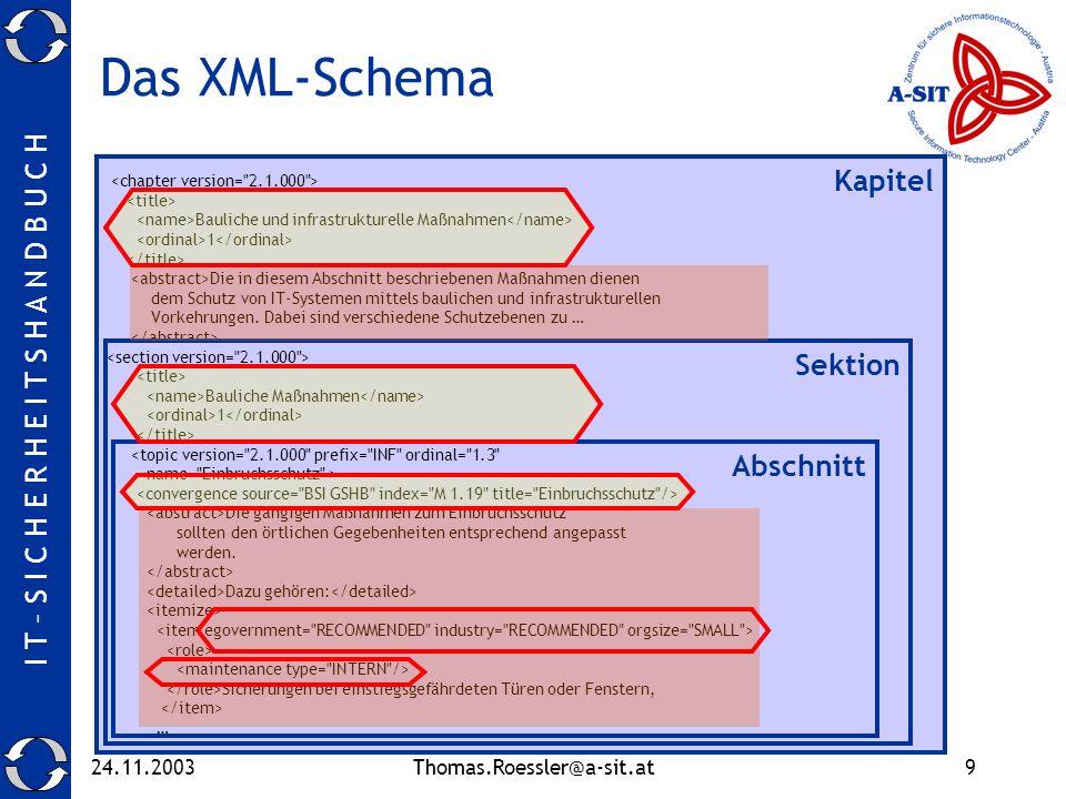 I T – S I C H E R H E I T S H A N D B U C H 24.11.2003Thomas.Roessler@a-sit.at9 Das XML-Schema Bauliche und infrastrukturelle Maßnahmen 1 Die in diesem Abschnitt beschriebenen Maßnahmen dienen dem Schutz von IT-Systemen mittels baulichen und infrastrukturellen Vorkehrungen.