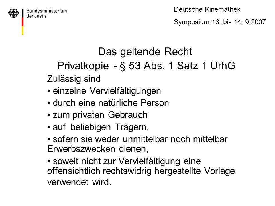 Deutsche Kinemathek Symposium 13.bis 14. 9.2007 Das geltende Recht Privatkopie - § 53 Abs.