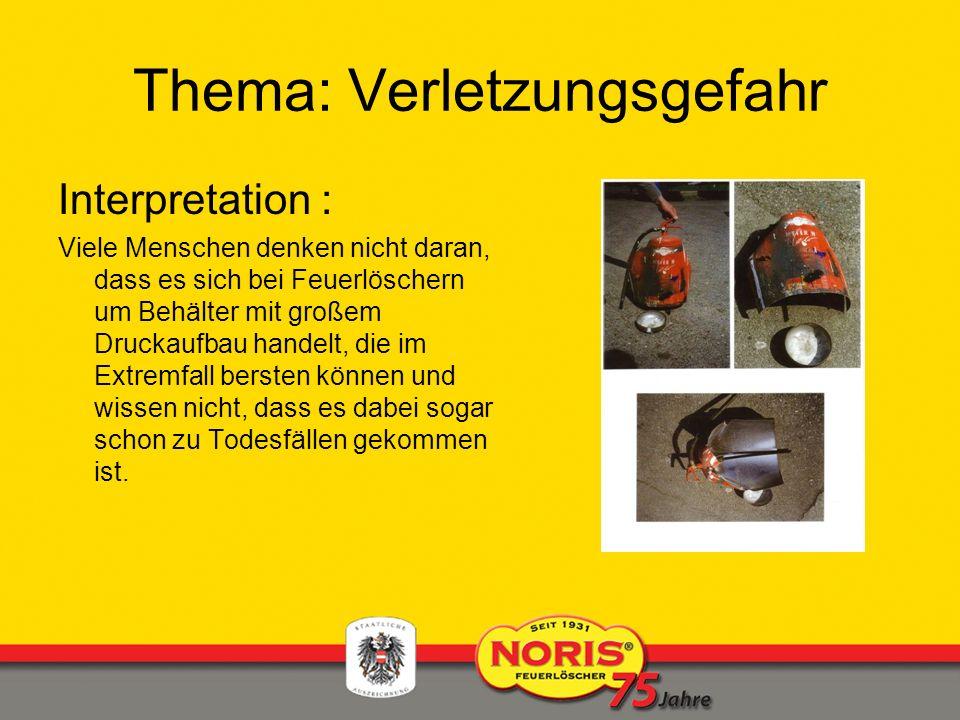 Thema: Verletzungsgefahr Interpretation : Viele Menschen denken nicht daran, dass es sich bei Feuerlöschern um Behälter mit großem Druckaufbau handelt