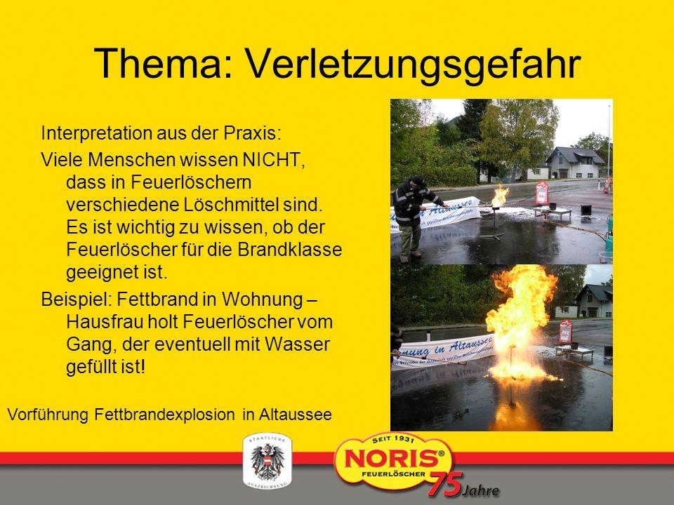 Thema: Verletzungsgefahr Interpretation aus der Praxis: Viele Menschen wissen NICHT, dass in Feuerlöschern verschiedene Löschmittel sind. Es ist wicht