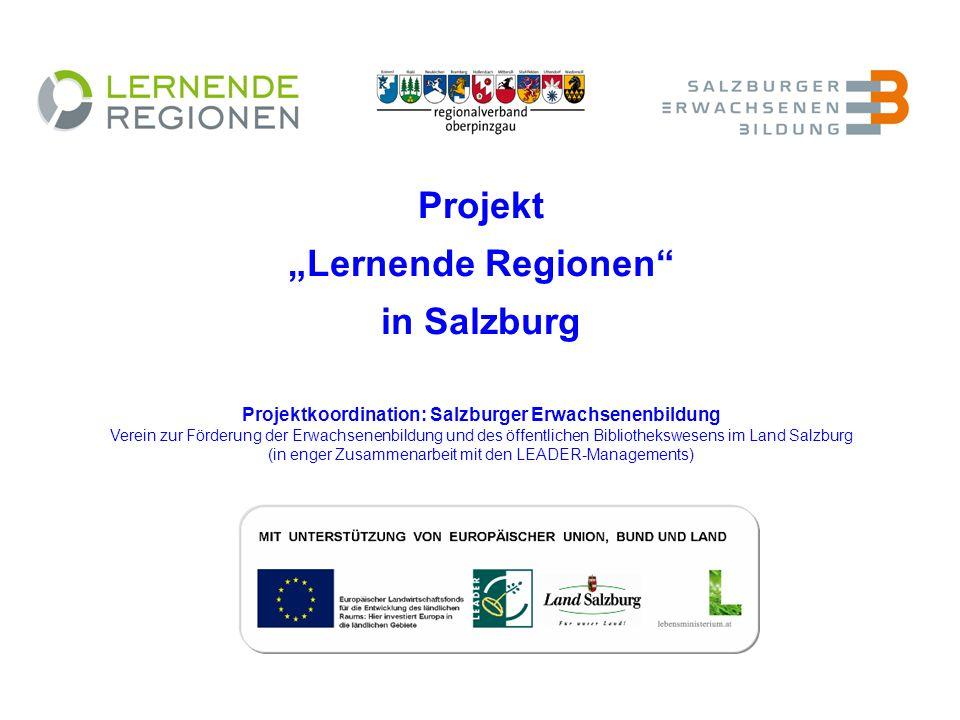 Projekt Lernende Regionen in Salzburg Projektkoordination: Salzburger Erwachsenenbildung Verein zur Förderung der Erwachsenenbildung und des öffentlichen Bibliothekswesens im Land Salzburg (in enger Zusammenarbeit mit den LEADER-Managements)