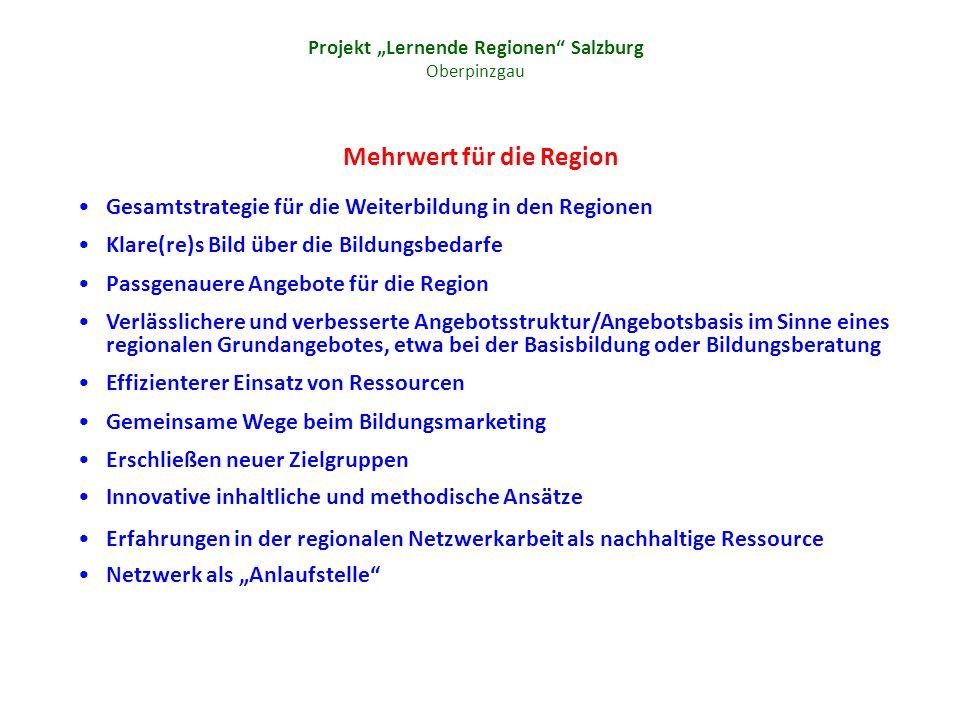Projekt Lernende Regionen Salzburg Oberpinzgau Mehrwert für die Region Gesamtstrategie für die Weiterbildung in den Regionen Klare(re)s Bild über die Bildungsbedarfe Passgenauere Angebote für die Region Verlässlichere und verbesserte Angebotsstruktur/Angebotsbasis im Sinne eines regionalen Grundangebotes, etwa bei der Basisbildung oder Bildungsberatung Effizienterer Einsatz von Ressourcen Gemeinsame Wege beim Bildungsmarketing Erschließen neuer Zielgruppen Innovative inhaltliche und methodische Ansätze Erfahrungen in der regionalen Netzwerkarbeit als nachhaltige Ressource Netzwerk als Anlaufstelle