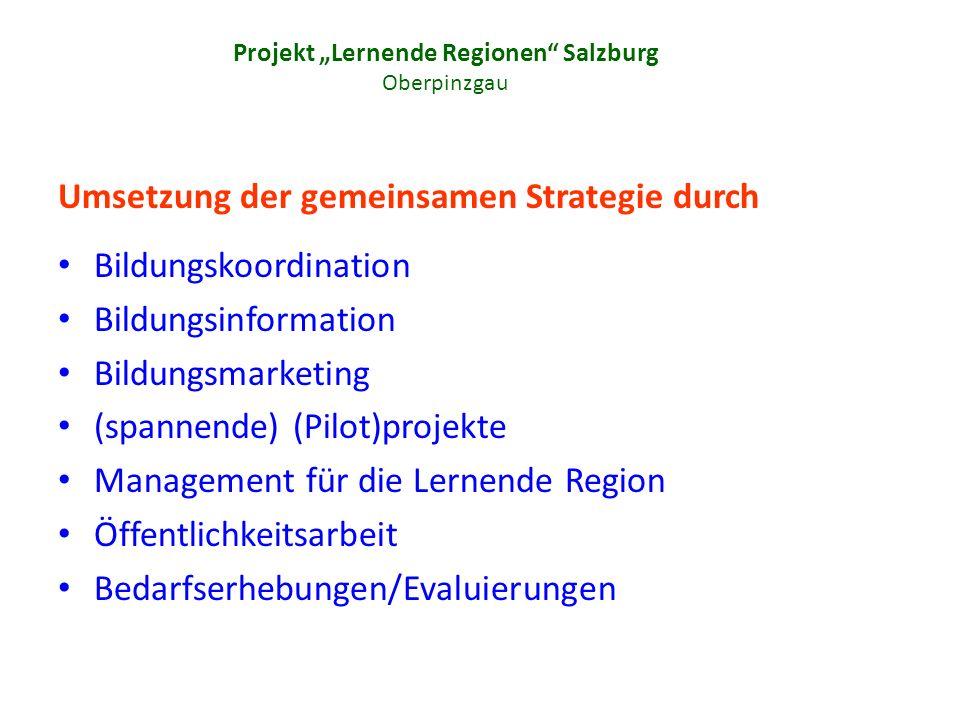 Projekt Lernende Regionen Salzburg Oberpinzgau Umsetzung der gemeinsamen Strategie durch Bildungskoordination Bildungsinformation Bildungsmarketing (spannende) (Pilot)projekte Management für die Lernende Region Öffentlichkeitsarbeit Bedarfserhebungen/Evaluierungen