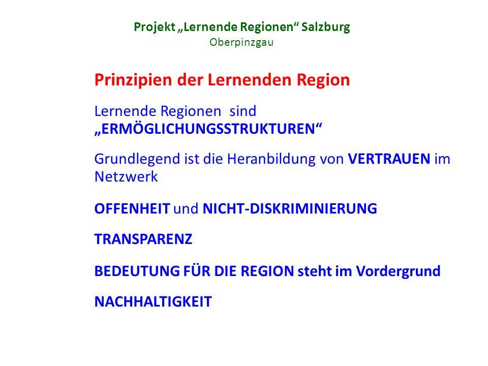 Projekt Lernende Regionen Salzburg Oberpinzgau Prinzipien der Lernenden Region Lernende Regionen sind ERMÖGLICHUNGSSTRUKTUREN Grundlegend ist die Heranbildung von VERTRAUEN im Netzwerk OFFENHEIT und NICHT-DISKRIMINIERUNG TRANSPARENZ BEDEUTUNG FÜR DIE REGION steht im Vordergrund NACHHALTIGKEIT