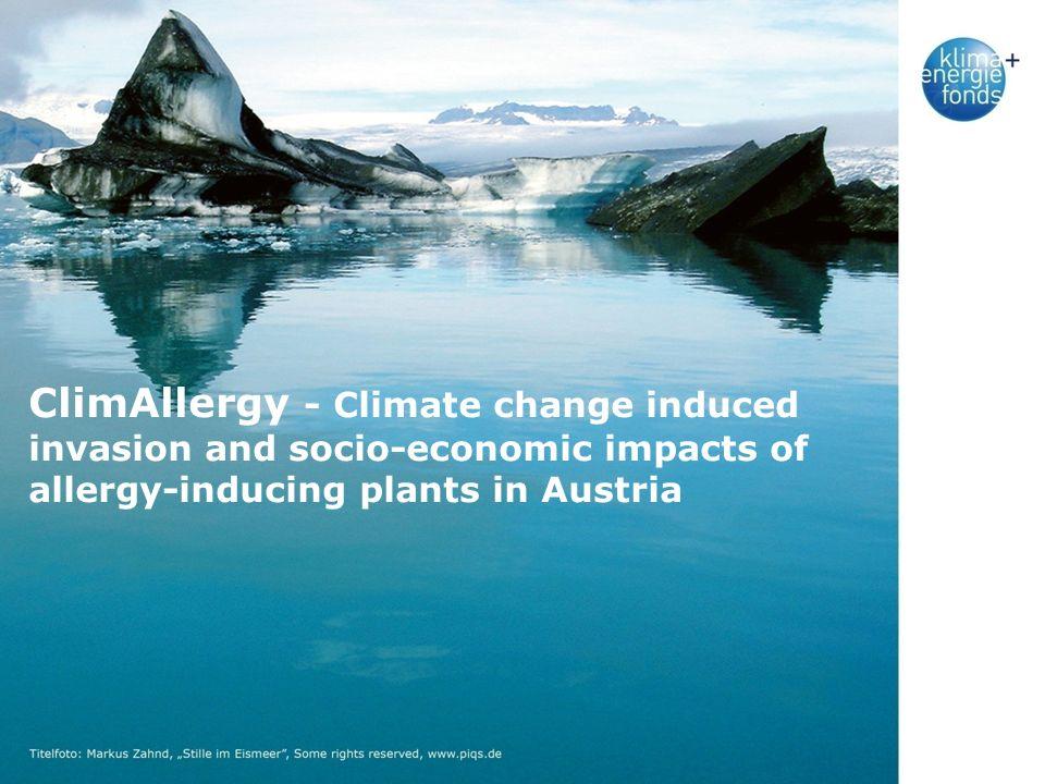 Agenda Klimawandel und allergische Erkrankungen Ziele des Projekts Überblick über das Projekt Die Arbeitspakete Erste Ergebnisse Zusammenfassung S.