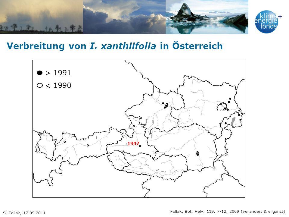 Verbreitung von I. xanthiifolia in Österreich 1947 Follak, Bot. Helv. 119, 7-12, 2009 (verändert & ergänzt) > 1991 < 1990 S. Follak, 17.05.2011