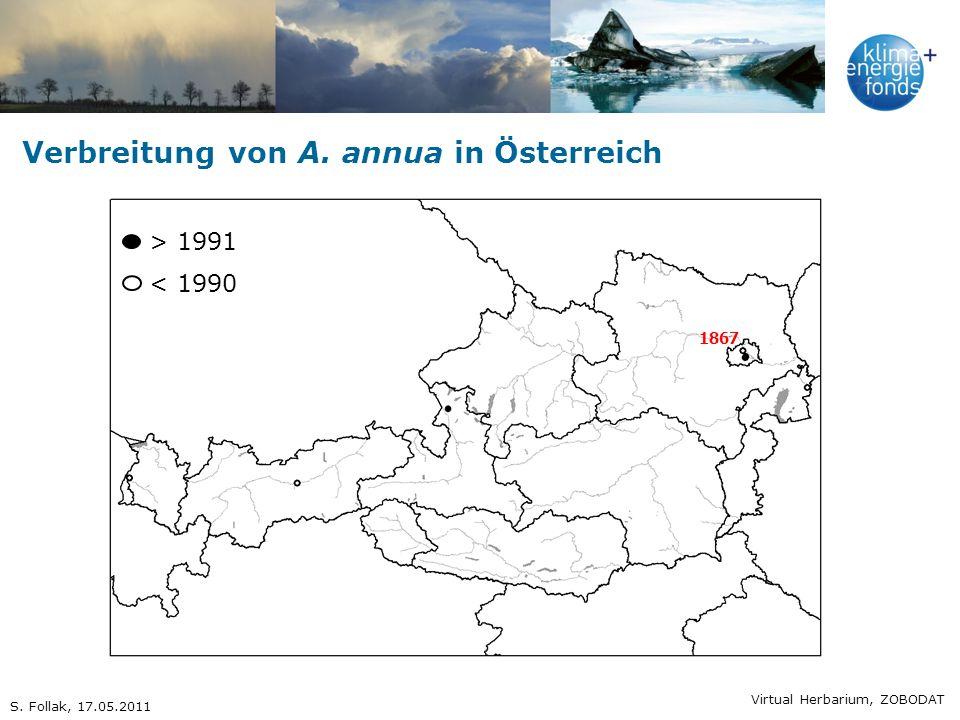 Verbreitung von A. annua in Österreich 1867 > 1991 < 1990 Virtual Herbarium, ZOBODAT S. Follak, 17.05.2011