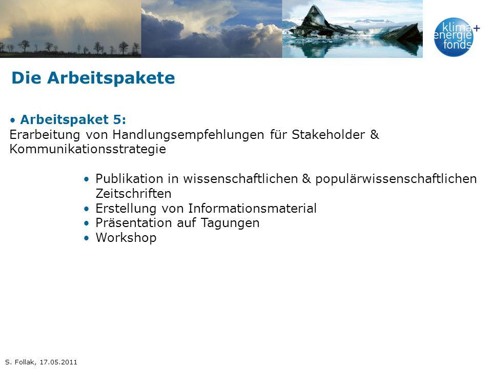 Die Arbeitspakete Arbeitspaket 5: Erarbeitung von Handlungsempfehlungen für Stakeholder & Kommunikationsstrategie Publikation in wissenschaftlichen &