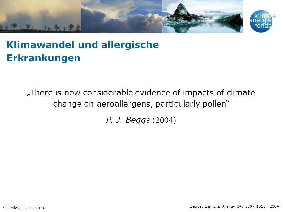 Klimawandel und allergische Erkrankungen längere Pollenflugsaison stärkere Aggressivität der Pollen stärkere Pollenfreisetzung Auftreten neuer Pollen Beggs & Bambrick, Environ Health Perspect 113, 915-919, 2005 S.