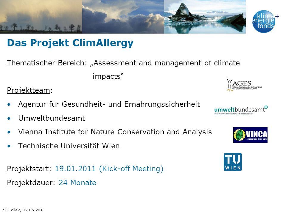 Das Projekt ClimAllergy Thematischer Bereich: Assessment and management of climate impacts Projektteam: Agentur für Gesundheit- und Ernährungssicherhe