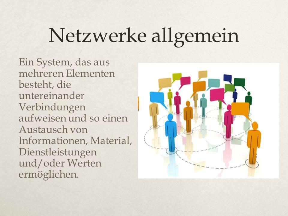 Netzwerke allgemein Ein System, das aus mehreren Elementen besteht, die untereinander Verbindungen aufweisen und so einen Austausch von Informationen,