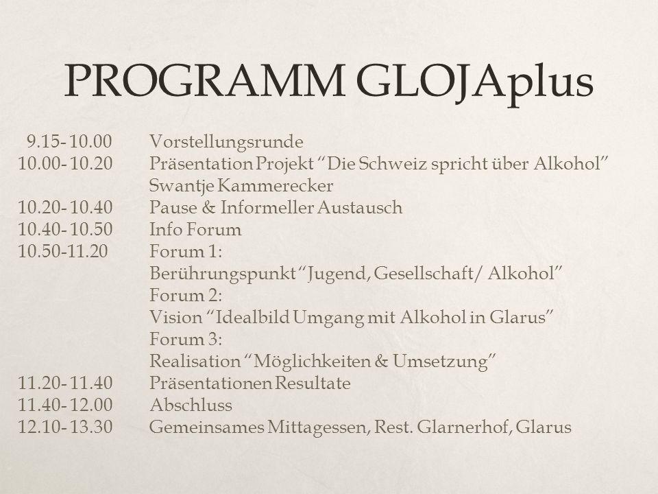PROGRAMM GLOJAplus 9.15- 10.00Vorstellungsrunde 10.00- 10.20Präsentation Projekt Die Schweiz spricht über Alkohol Swantje Kammerecker 10.20- 10.40Paus