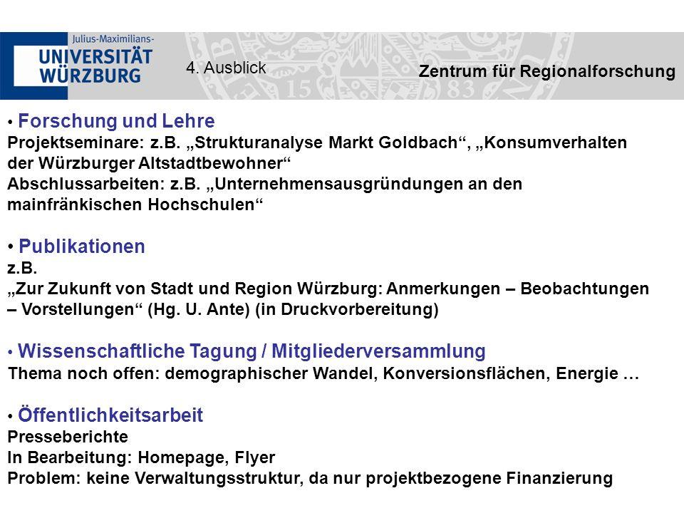 Zentrum für Regionalforschung 4. Ausblick Forschung und Lehre Projektseminare: z.B.