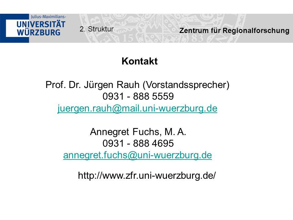 Zentrum für Regionalforschung 2. Struktur Kontakt Prof.