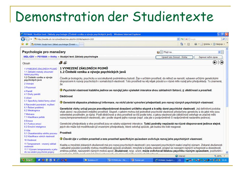Demonstration der Studientexte