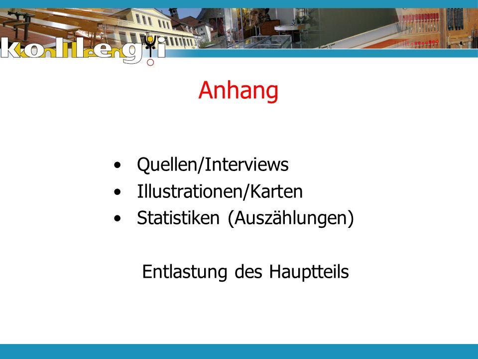 Anhang Quellen/Interviews Illustrationen/Karten Statistiken (Auszählungen) Entlastung des Hauptteils