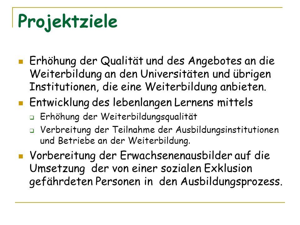 Projektziele Erhöhung der Qualität und des Angebotes an die Weiterbildung an den Universitäten und übrigen Institutionen, die eine Weiterbildung anbie