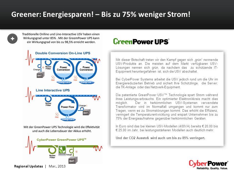 Greener: Energiesparen! – Bis zu 75% weniger Strom! Mit dieser Botschaft treten wir den Kampf gegen sich grün nennende USV-Produkte an. Die meisten au