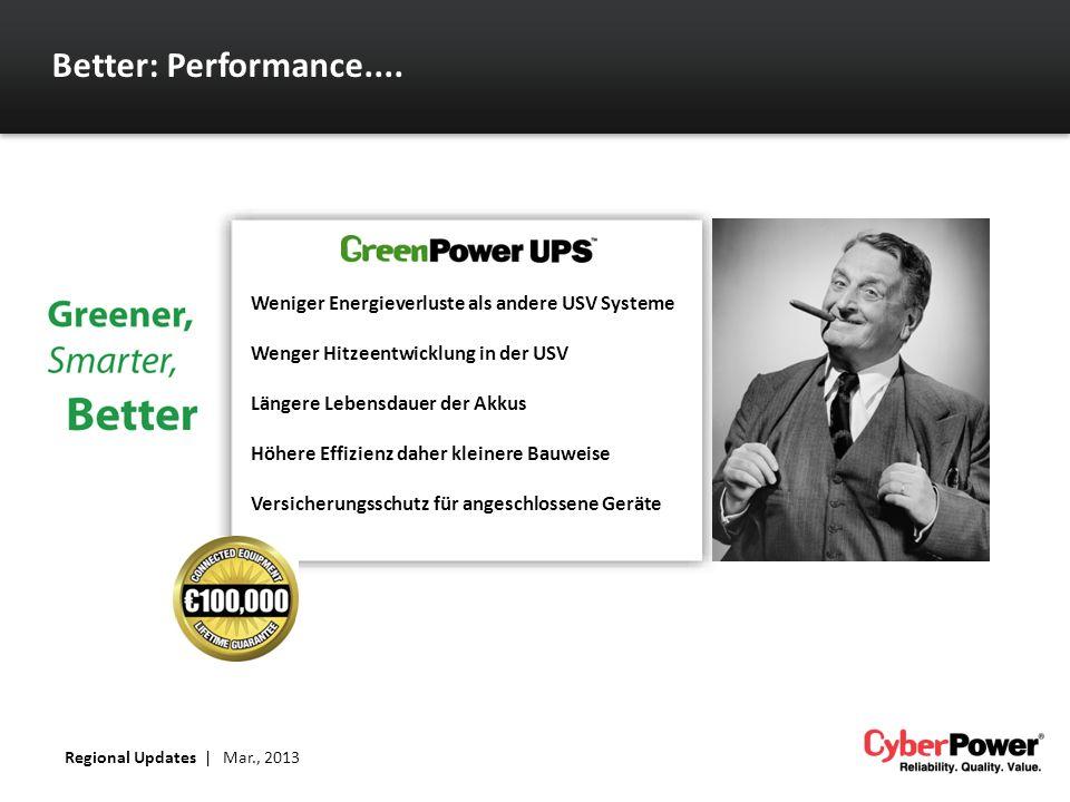 Better: Performance.... Regional Updates | Mar., 2013 Weniger Energieverluste als andere USV Systeme Wenger Hitzeentwicklung in der USV Längere Lebens