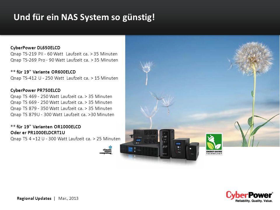 Und für ein NAS System so günstig! CyberPower DL650ELCD Qnap TS-219 PII - 60 Watt Laufzeit ca. > 35 Minuten Qnap TS-269 Pro - 90 Watt Laufzeit ca. > 3