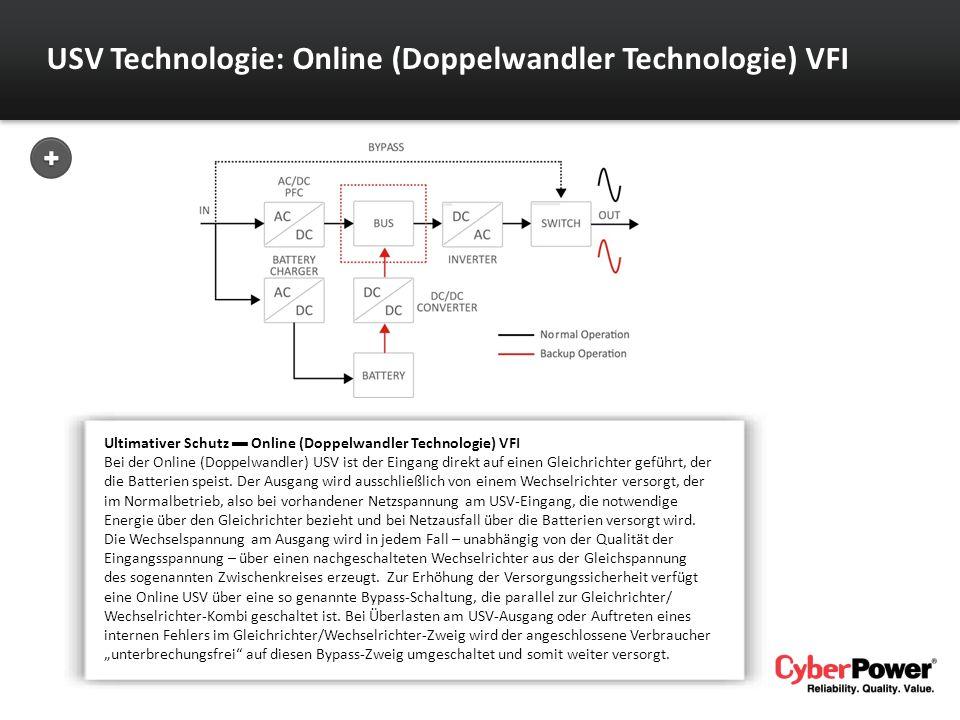 USV Technologie: Online (Doppelwandler Technologie) VFI Ultimativer Schutz Online (Doppelwandler Technologie) VFI Bei der Online (Doppelwandler) USV i