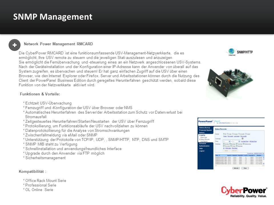 Network Power Management RMCARD Die CyberPower RMCARD ist eine funktionsumfassende USV-Management-Netzwerkkarte, die es ermöglicht, Ihre USV remote zu