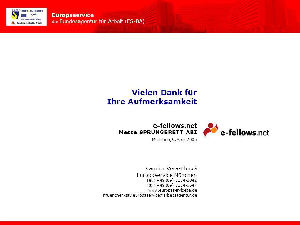 Europaservice der Bundesagentur für Arbeit (ES-BA) e-fellows.net Ramiro Vera-Fluixá Europaservice München Tel.: +49 (89) 5154-8042 Fax: +49 (89) 5154-