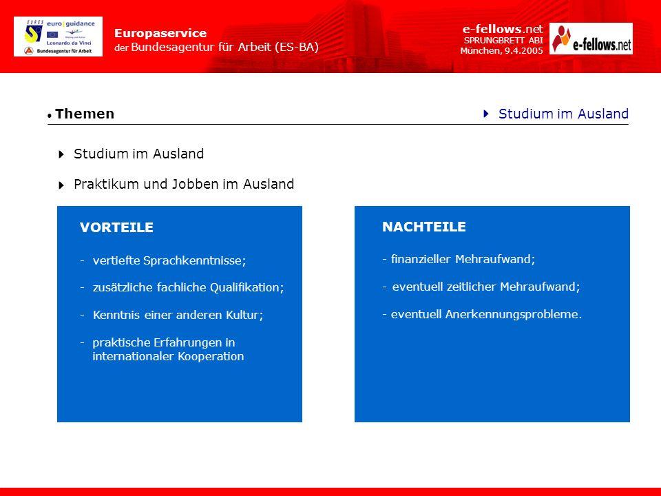 Europaservice der Bundesagentur für Arbeit (ES-BA) e-fellows.net SPRUNGBRETT ABI München, 9.4.2005 Themen Wie lange.