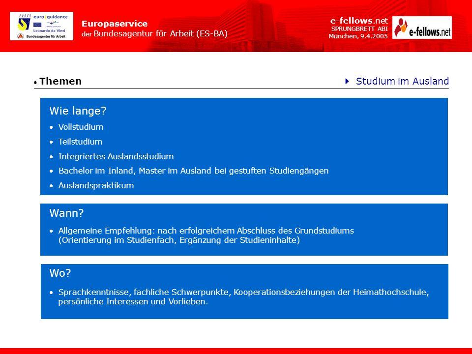 Europaservice der Bundesagentur für Arbeit (ES-BA) e-fellows.net SPRUNGBRETT ABI München, 9.4.2005 Themen Wie lange? Studium im Ausland Allgemeine Emp