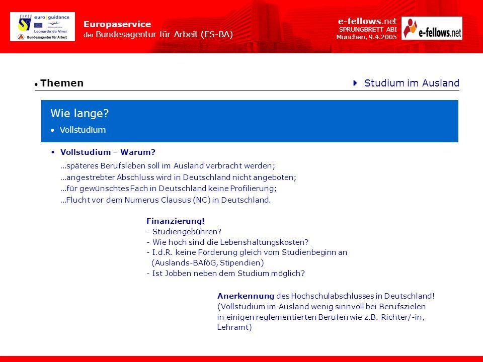 Europaservice der Bundesagentur für Arbeit (ES-BA) e-fellows.net SPRUNGBRETT ABI München, 9.4.2005 Themen Wie lange? Studium im Ausland Vollstudium …s