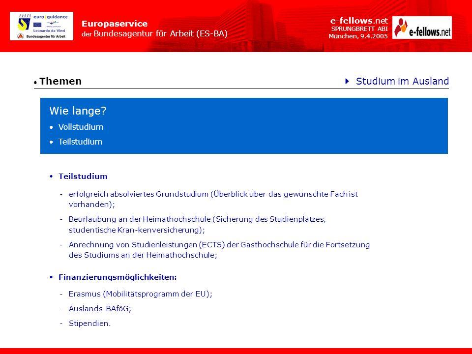 Europaservice der Bundesagentur für Arbeit (ES-BA) e-fellows.net SPRUNGBRETT ABI München, 9.4.2005 Themen Studium im Ausland -erfolgreich absolviertes