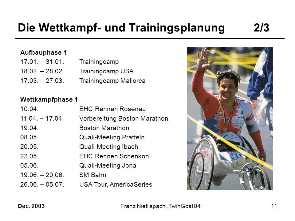 Dec. 2003Franz Nietlispach TwinGoal 0410 Die Wettkampf- und Trainingsplanung1/3 Die Wettkampf- und Trainingsplanung findet auf der bisherigen Basis st