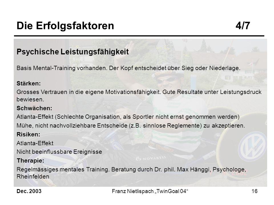 Dec. 2003Franz Nietlispach TwinGoal 0415 Die Erfolgsfaktoren3/7 Regeneration Der Regeneration ist grosse Bedeutung zuzumessen, insbesondere bei hoher
