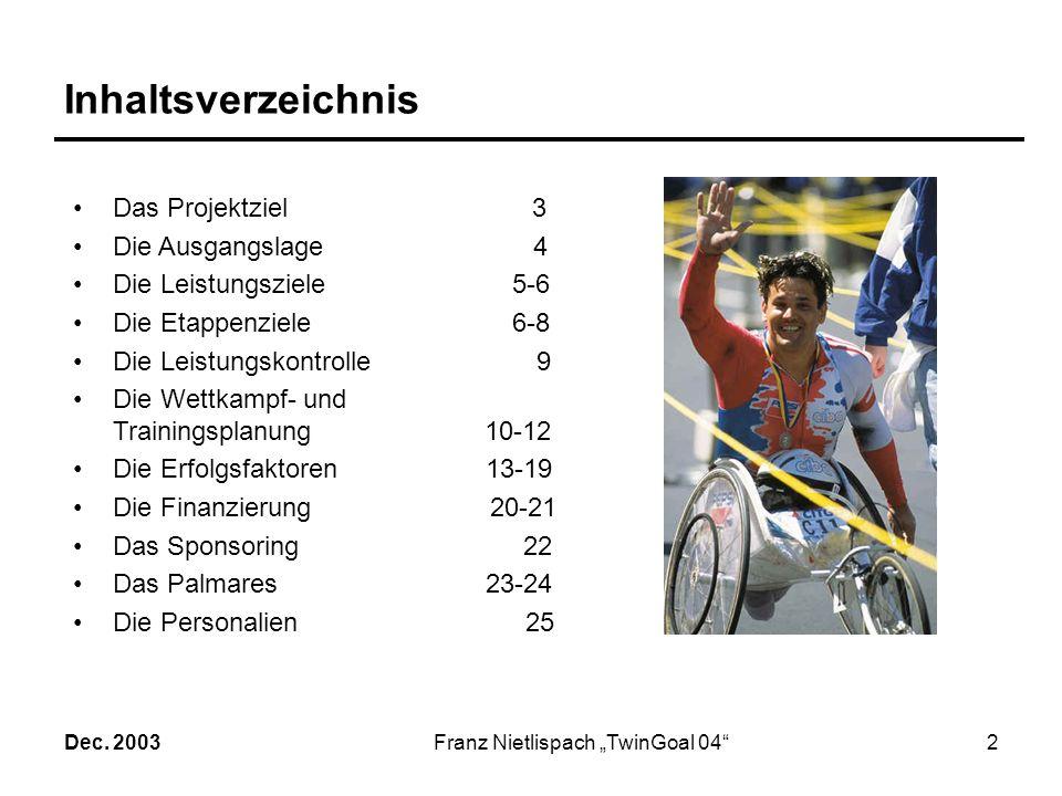 Dec. 2003Franz Nietlispach TwinGoal 041 Projekt: TwinGoal 04 Erfolg im Rennrollstuhl und Handbike in Athen 2004