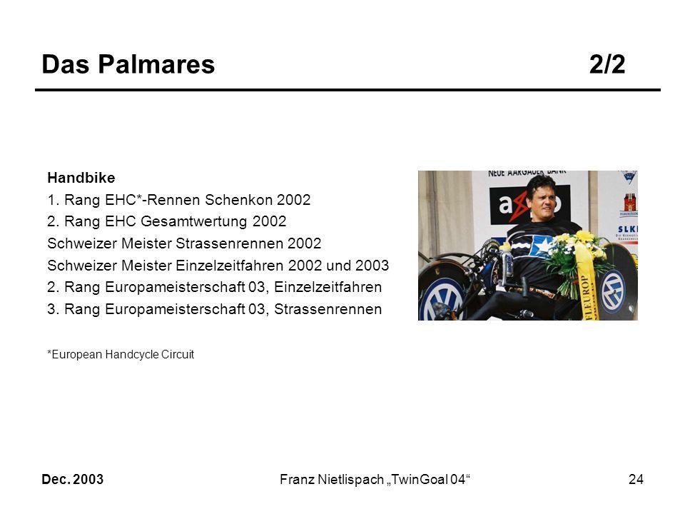 Dec. 2003Franz Nietlispach TwinGoal 0423 Das Palmares1/2 Rennrollstuhl 14-facher Olympiasieger 19-facher Weltmeister Offizieller Weltrekordhalter (Sta