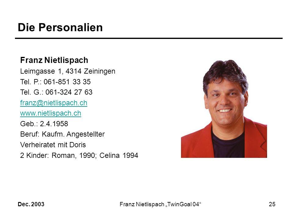 Dec. 2003Franz Nietlispach TwinGoal 0424 Das Palmares2/2 Handbike 1. Rang EHC*-Rennen Schenkon 2002 2. Rang EHC Gesamtwertung 2002 Schweizer Meister S