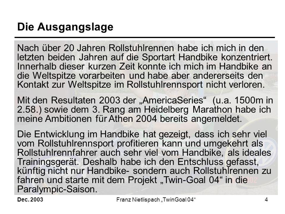 Dec. 2003Franz Nietlispach TwinGoal 043 Das Projektziel Ziel dieses Projektes ist es, klare Zielvorgaben für Training und Wettkampf messbar zu definie