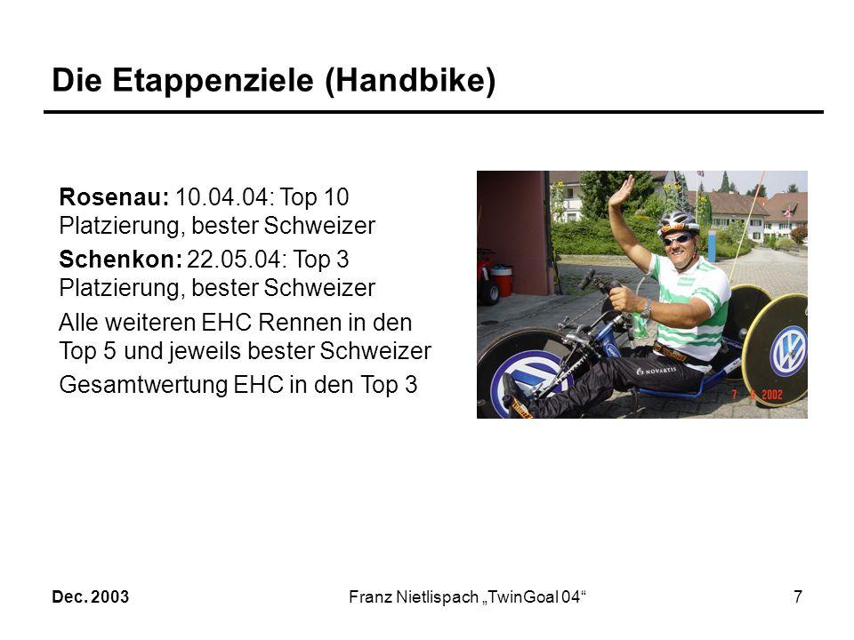 Dec. 2003Franz Nietlispach TwinGoal 046 Die Begründung Bei 7 Paralympics-Teilnahmen habe ich bisher 14 Goldmedaillen gewonnen. Aufgrund meiner bisheri