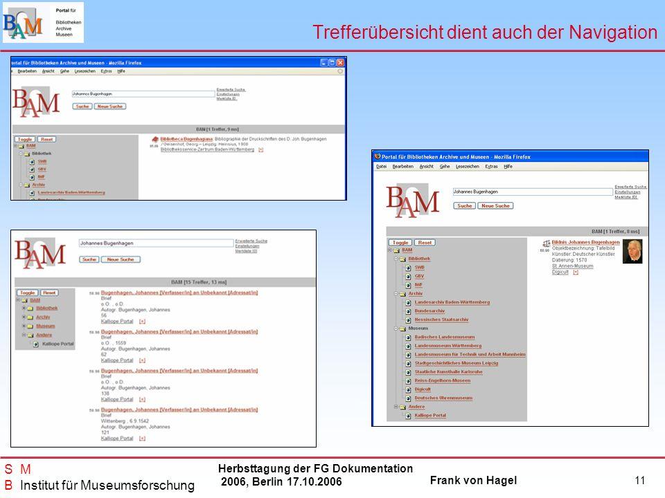 Herbsttagung der FG Dokumentation 2006, Berlin 17.10.2006 Frank von Hagel S M B Institut für Museumsforschung 11 Trefferübersicht dient auch der Navig